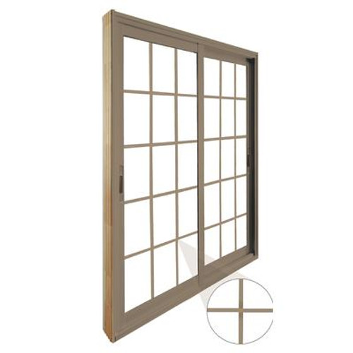 Double Sliding Patio Door - 15 Lite Internal White Flat Grill - 5 Ft. / 60 In. x 80 In. Sandstone