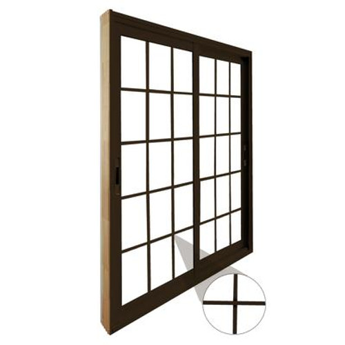 Double Sliding Patio Door - 15 Lite Internal White Flat Grill - 6 Ft. / 72 In. x 80 In. Brown