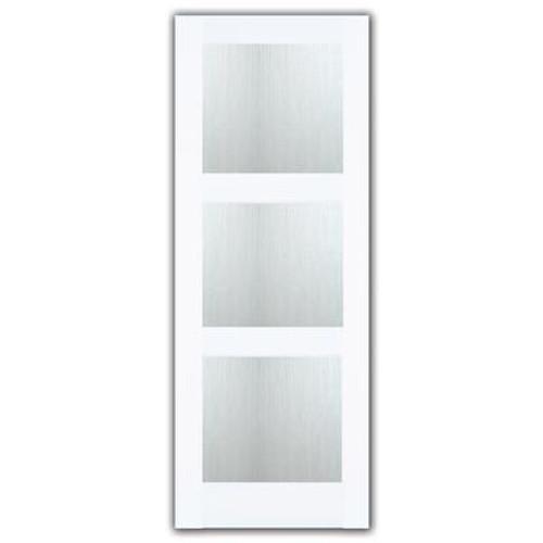 24X80 3 Lite Shaker French Door Primed With Joel Berman Designed Aqui Privacy Glass