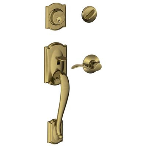 Antique Brass Door Handleset Camelot / Accent Lever