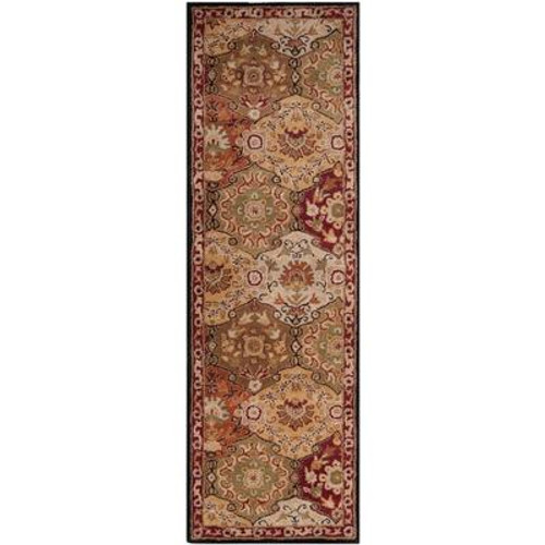 Abbaretz Red Wool  - 3 Ft. x 12 Ft. Area Rug