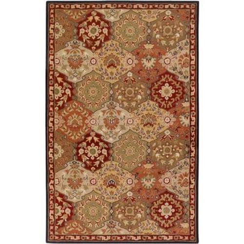 Abbaretz Red Wool  - 5 Ft. x 8 Ft. Area Rug