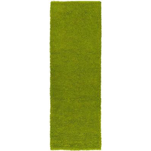 Agoura Lime Green New Zealand Felted Wool 2 Ft. 6 In. x 8 Ft. Runner