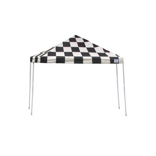 12x12 Straight Leg Pop-Up Canopy; Checkered Flag Cover; Black Roller Bag