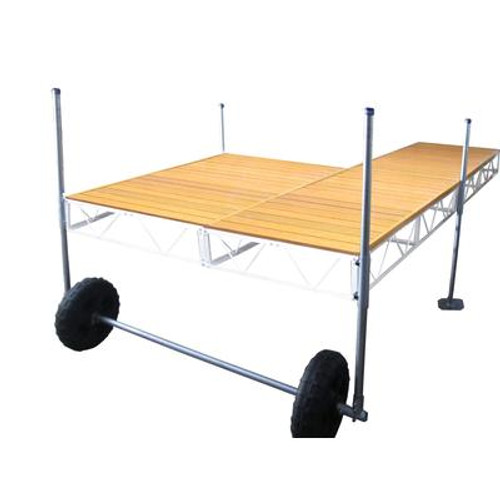 16 Feet  Patio Roll-in Dock w/Aluminum Wood Grain Decking