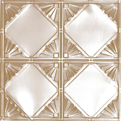 2 Feet x 2 Feet Brass Plated Steel Finish Lay-In Ceiling Tile  Design Repeat Every 12 Inches
