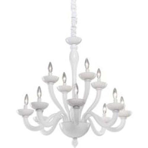 12 Light Ceiling White Incandescent Chandelier