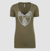 Womens BAMF logo Vneck (OD Green/Gray)