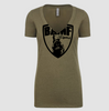 Womens BAMF logo Vneck (OD Green/Black)