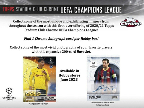 2020/21 Topps UEFA Stadium Club Chrome Soccer Hobby 12 Box Case
