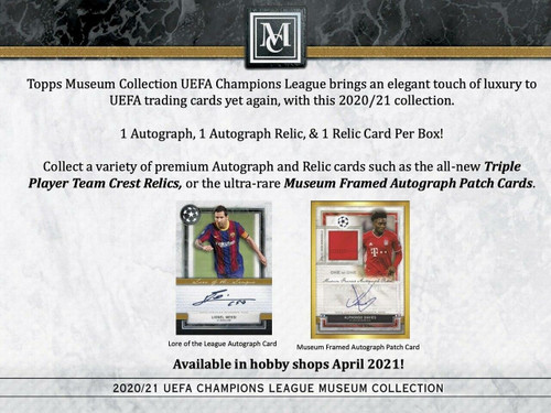 2020/21 Topps Museum Collection UEFA Champions League Soccer Hobby 12 Box Case