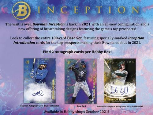 2021 Bowman Inception Baseball Hobby Box