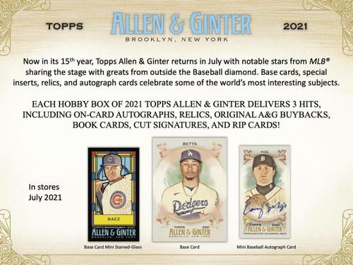 2021 Topps Allen and Ginter Baseball Hobby 12 Box Case