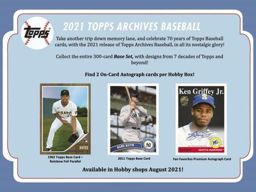 2021 Topps Archives Baseball Hobby 10 Box Case