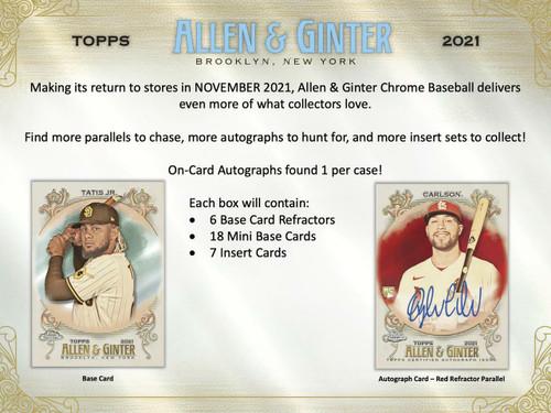 2021 Topps Allen and Ginter Chrome Baseball Hobby 12 Box Case