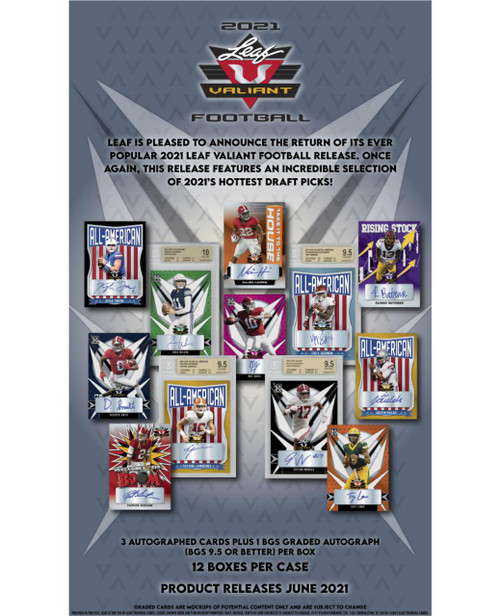 2021 Leaf Valiant Football Hobby 12 Box Case