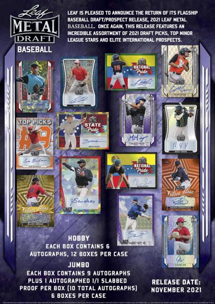 2021 Leaf Metal Draft Baseball Jumbo 6 Box Case
