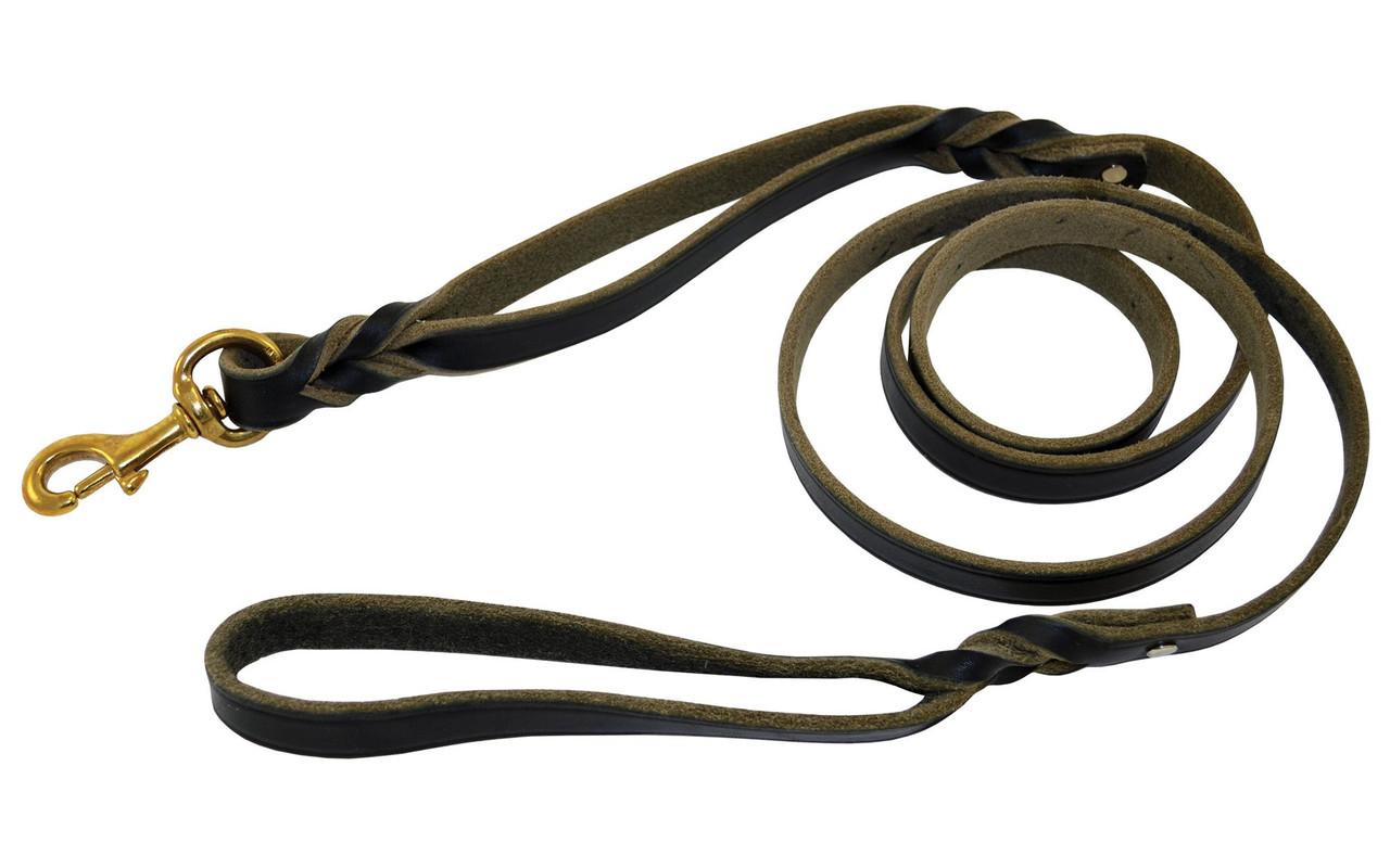 Burgundy 4-Feet x 3//4-Inch Signature K9 Double Handle Braided Leather Leash