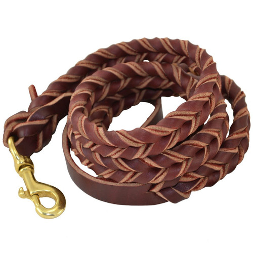 Deluxe Full-Braided Leather Dog Leash