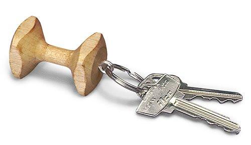 Wooden Dumbbell Key Ring