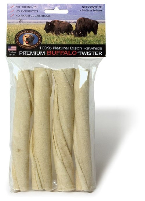 Tasman's Natural Bison Rawhide Twists