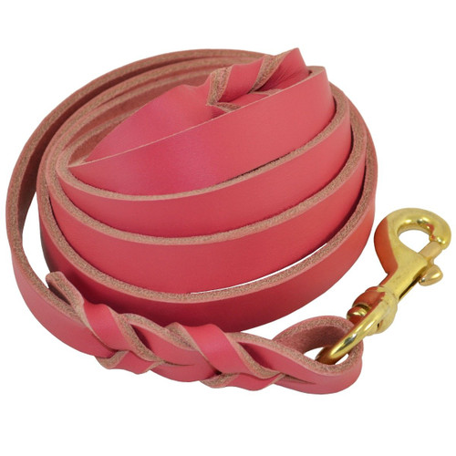 Pink Braided Leather Dog Leashes