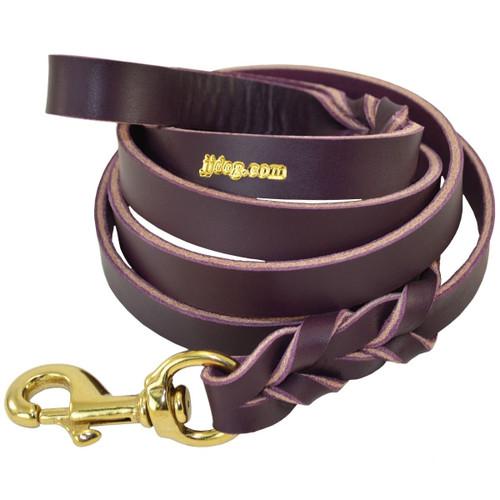 Purple Braided Leather Training Leash