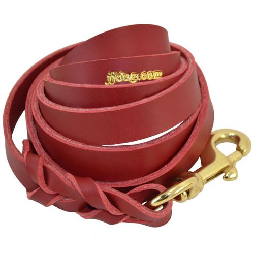 Red Braided Leather Dog Training Leash