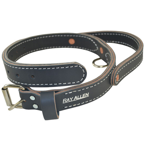 Grey Leather Dog Collar with Handle
