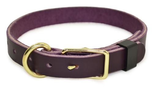 Purple Flat Leather Dog Collar