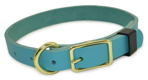 Teal Flat Leather Dog Collar