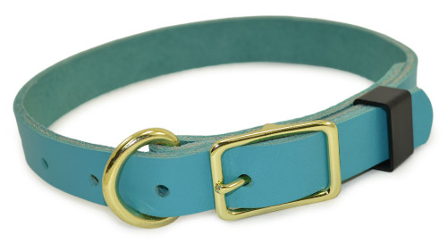 Teal Flat Leather Dog Collar