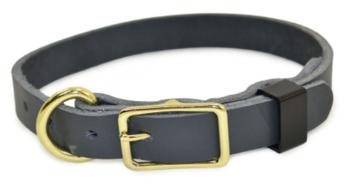 Gray Flat Leather Dog Collar