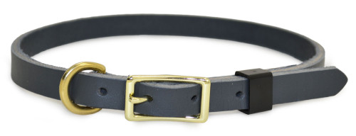 """Gray Flat Leather Dog Collar- 1/2"""" wide - 12""""-16"""" neck"""
