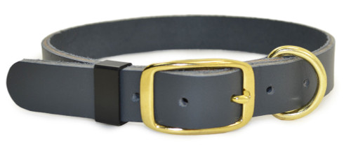 "Gray Flat Leather Dog Collar - 1"" wide - 12""-16"" neck"
