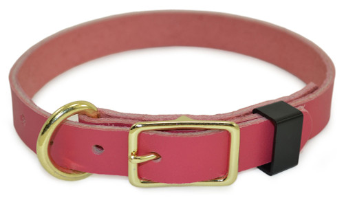 Pink Flat Leather Dog Collar