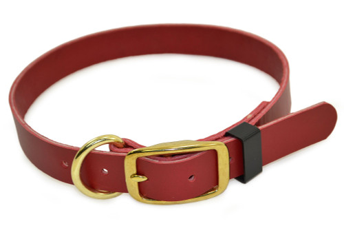 Red Flat Leather Dog Collar