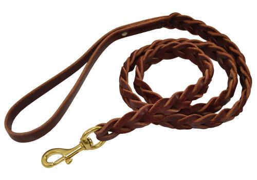 Slot Braided Leather Leash