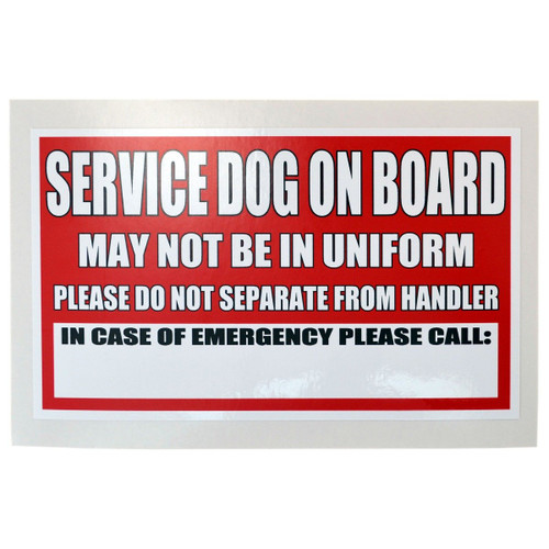 Service Dog On Board Sticker and Decal