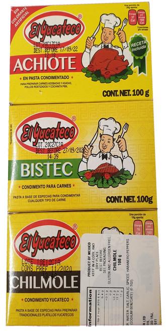 El Yucateco Pastes - Achiote - Chilmole - Bistec 100g Image by SPICESontheWEB