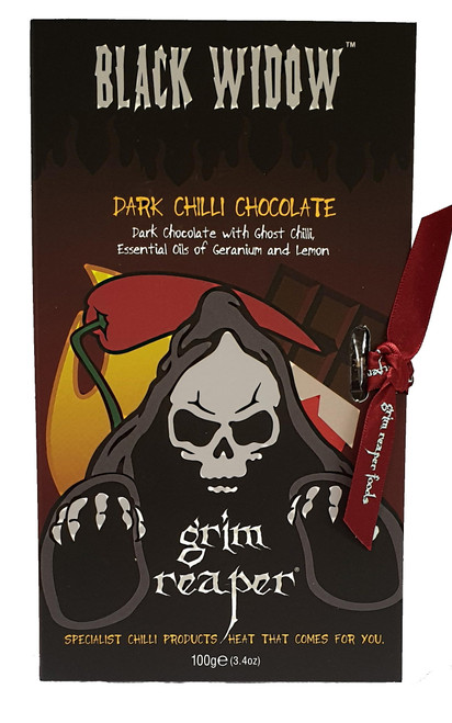 Black Widow Ghost Chilli Chocolate 100g by Grim Reaper Image