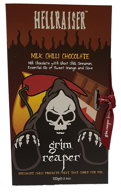 Hellraiser Ghost Orange Milk Chilli Chocolate 100g Image by Grim Reaper