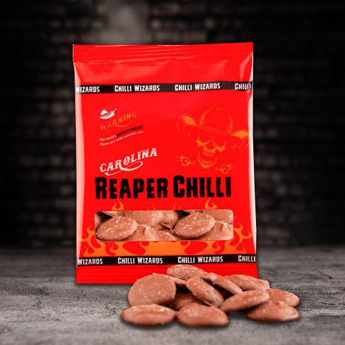 Carolina Reaper Chilli Chocolate buttons Image by Chilli Wizards
