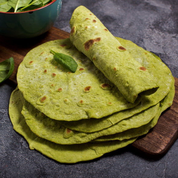 """Spinach Tortilla Wraps 30cm (12"""") Image by SPICESontheWEB"""