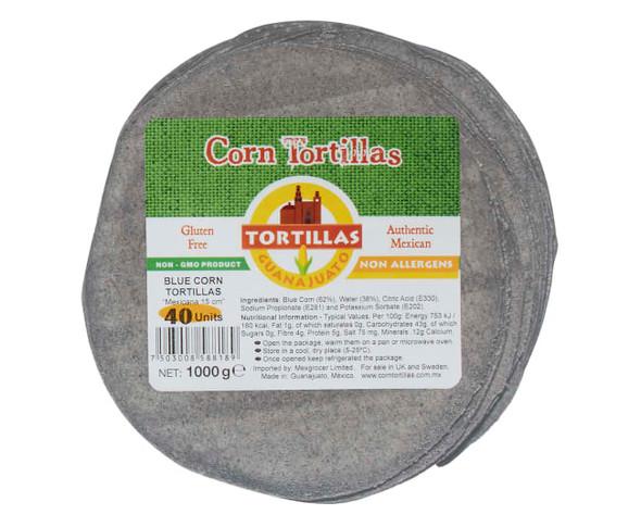 Corn Tortilla Blue 15cm 1kg - 40 Wraps Image by SPICESontheWEB