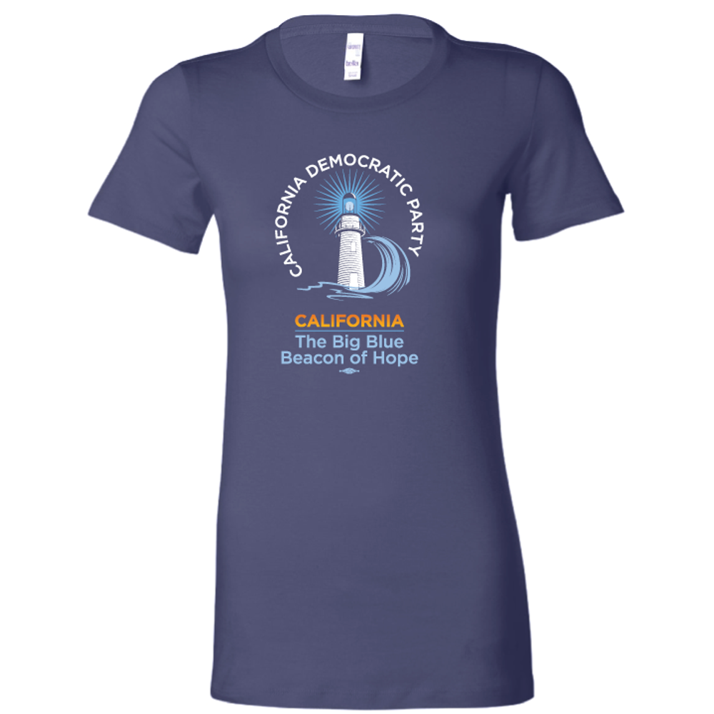 Lighthouse (on Navy Ladies-Cut Tee)