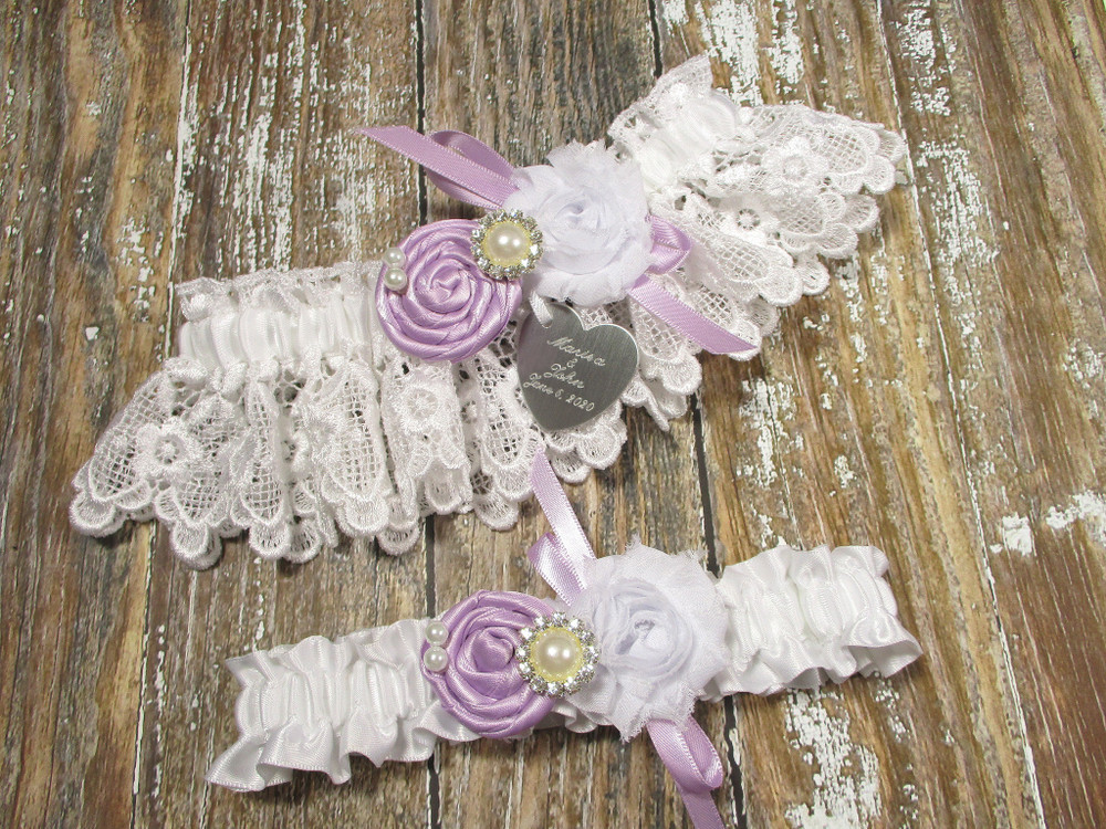 Personalized White Lace Wedding Garter Set Shown with Lavender Roses