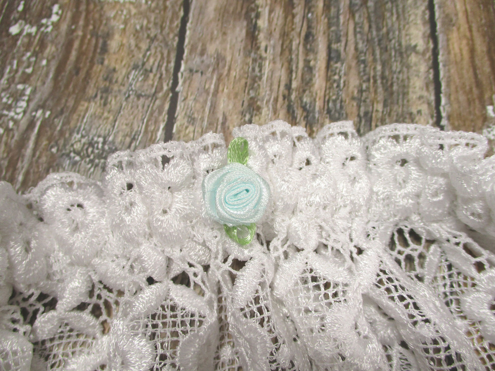 A Tiny Light Blue Rose is Tucked on the Inside of the Personalized Wedding Garter for Your Something Blue!
