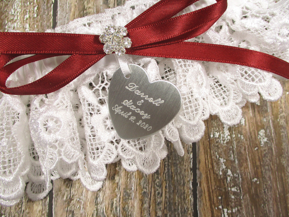Engraving on the Personalized White Lace Wedding Garter
