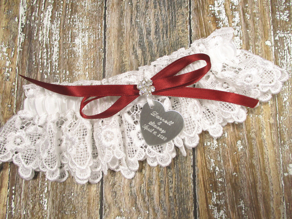 Personalized White Lace Wedding Garter, Shown with a Scarlet Red Bow